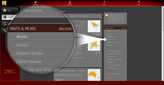 How to browse and select map updates, applications and extra content in the Renault Media Nav Toolbox?